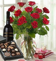 Roses, Wine and Chocolate Combo