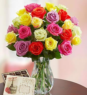 Multicolored Roses, 24 Stems