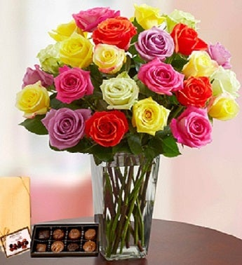 2 Dozen Assorted Roses with Chocolates