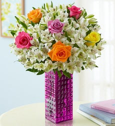 Peruvianlily Flowers on Assorted Rose   Peruvian Lily   Free Vase   With Purple Hobnail Vase