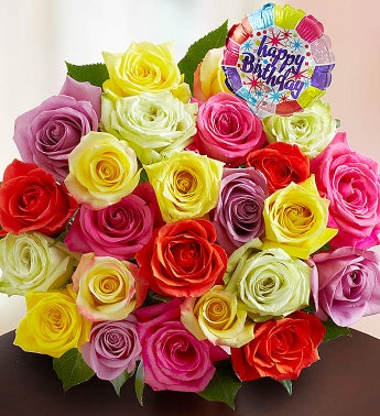 Happy Birthday Assorted Roses, 12-24 Stems - 24 Stems, Bo...