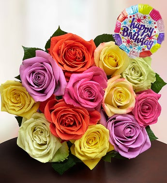Happy Birthday Assorted Roses, 12-24 Stems - 12 Stems, Bo...
