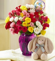 Rainbow Bouquet for Baby, 50-100 Blooms