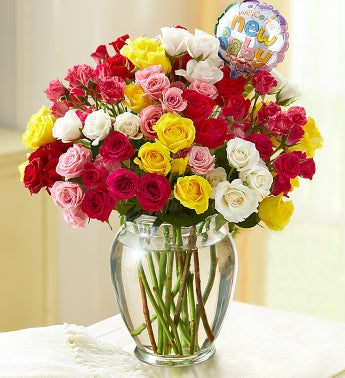 Rainbow Bouquet for Baby, 50-100 Blooms - 100 Blooms with Clear Vase