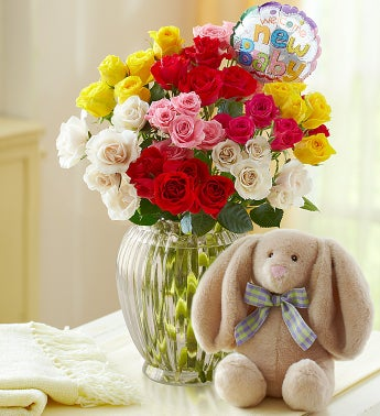 Rainbow Bouquet for Baby, 50-100 Blooms - 50 Blooms with Clear Vase, Balloon and Bunny
