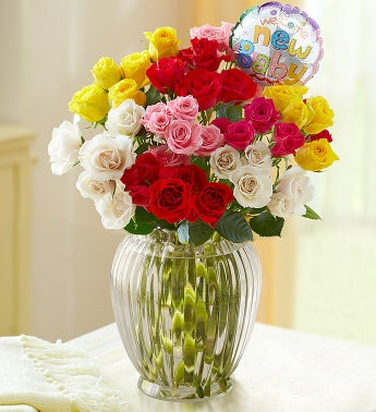 Rainbow Bouquet for Baby, 50-100 Blooms - 50 Blooms with Clear Vase and Balloon