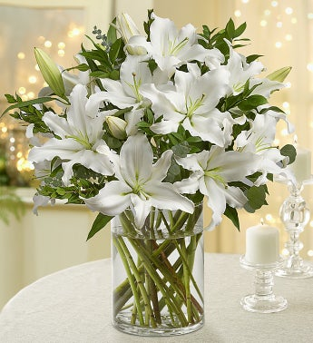 All White Lilies - Double Bouquet with Clear Vase - 1-800...