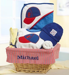 Personalized Baby Boy Little Slugger Gift Basket - Little Slugger Baseball New Baby Boy Gift Basket