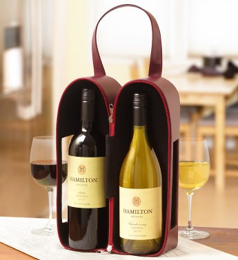 Hamilton Estates Faux Leather Napa Wine Tote