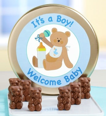 Welcome Baby! Milk Chocolate Teddy Bears Tin