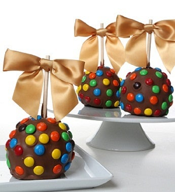 Chocolate Dipped Apples with M & M?s