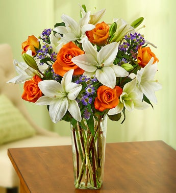 Summer Rose & Lily Bouquet + Free Vase - 1800flowers promotion