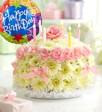 Birthday Flower Cake Pastel - with Happy Birthday Balloon