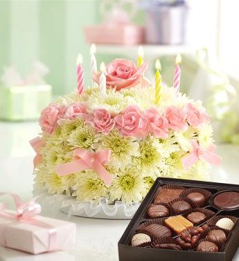 Birthday Flower Cake Pastel - with Chocolate
