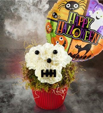 Best Flower Arrangements-  Bad to the Bones Cupcake with Halloween Balloon