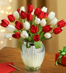 Jolly Holiday Tulips, 30 for $30 with Free Vase - 30 Stems with Silver Vase