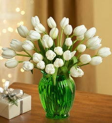 Winter Snowflake Tulips, 30 for $30 + Green Vase - 30 Stems with Free Green Vase