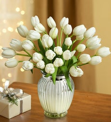 Winter Snowflake Tulips, 30 for $30 + Green Vase - 30 Stems with Silver Vase