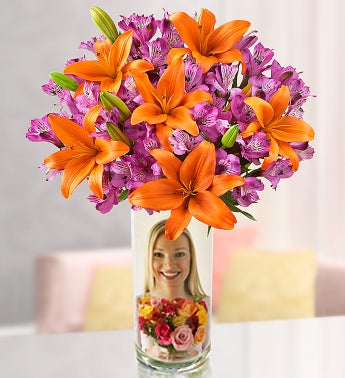 Autumn Lily Medley with Personalized Vase