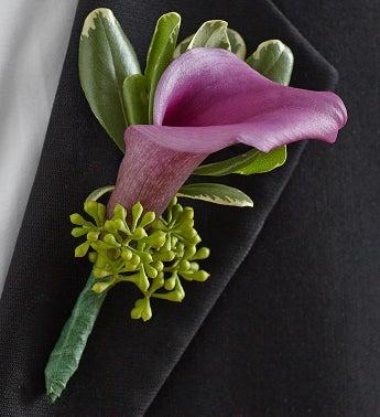 Purple Elegance Boutonniere - Mini Calla Lily - 1-800-Flo...