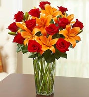Red Rose and Orange Lily Bouquet