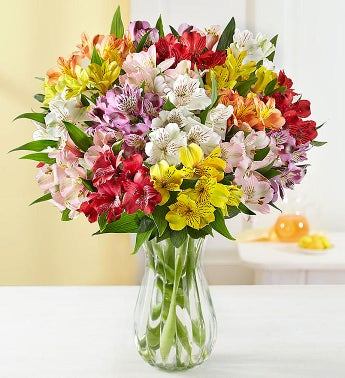 Peruvian Lilies - 100 Blooms with Clear Vase - 1-800-Flowers