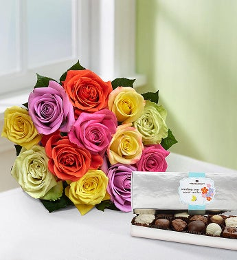 Mom's Favorite Roses, 12 Stems - Bouquet with Chocolate - 1-800-Flowers