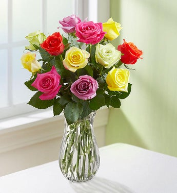 Mom's Favorite Roses, 12 Stems - with Clear Vase - 1-800-...