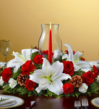 Holiday Cheer Centerpiece with Glass Hurricane