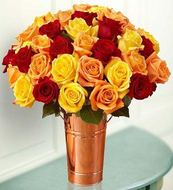 Autumn Rose Bouquet, 36 Stems - with Copper Vase