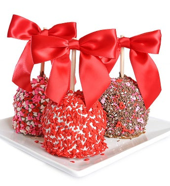 Valentines Chocolate Dipped Caramel Apples