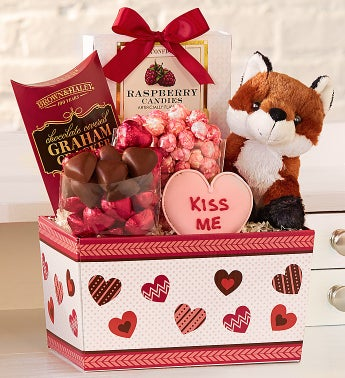 Foxy Plush & Sweets Valentine Basket