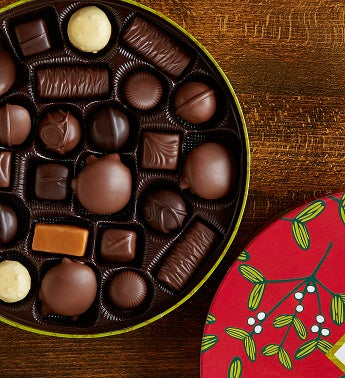 FM Chocolate Assortment in Mistletoe Tin