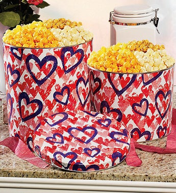 Popcorn Letterpress Hearts Four Way Tin