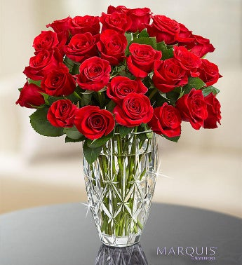 Marquis by Waterford Vase + 24 Red Roses $ 85.00