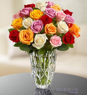 Marquis by Waterford Vase + 24 Multi Roses - Brilliant Assorted Roses in Waterford Vase $ 85.00
