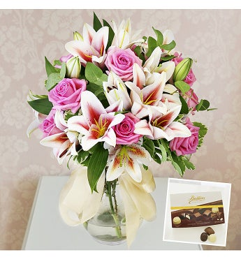 Rose & Lily Hand Tied Flowers with Chocolates