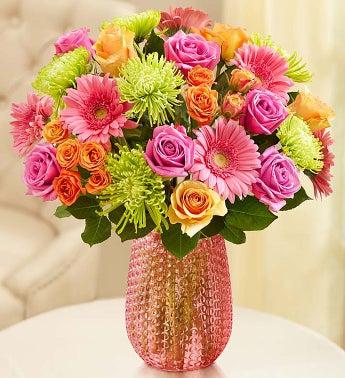 Vibrant Blooms Bouquet - Double Bouquet with Pink Vase - ...
