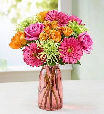 Vibrant Blooms Bouquet - with Pink Vase - 1-800-Flowers