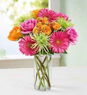 Vibrant Blooms Bouquet - with Clear Cylinder Vase - 1-800...