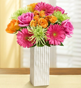 Vibrant Blooms Bouquet - with White Bamboo Vase - 1-800-F...