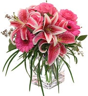 Pink Lilies and Roses Cube Arrangement