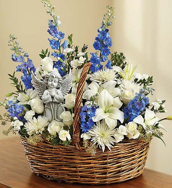 Heavenly Angel Blue and White Basket - Large - 1-800-Flowers