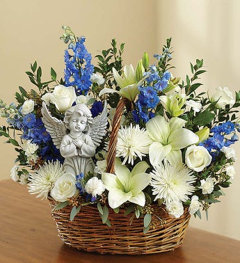 Heavenly Angel Blue and White Basket - Small - 1-800-Flowers