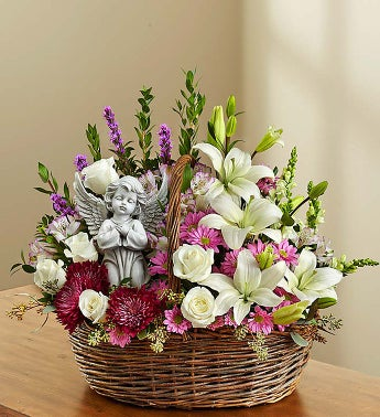 Angelic Heather Lavender, Roses And Lilies Basket