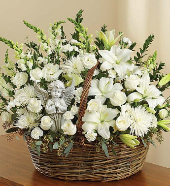 Heavenly Angel All White Basket - Large - 1-800-Flowers