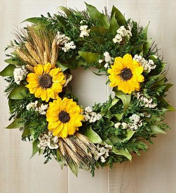 "Preserved Sunflower Wreath 16"" - 1-800-Flowers"