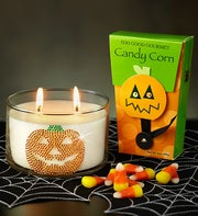 Jeweled Pumpkin Candle with Candy Corn