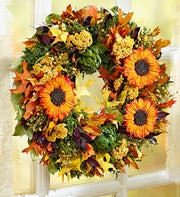 Preserved Fall Sunflower Wreath ? 16""
