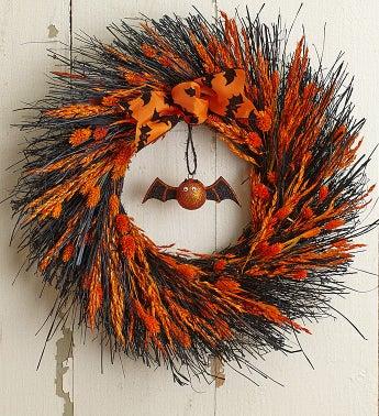 "Preserved Spooky Halloween Wreath ? 16"""